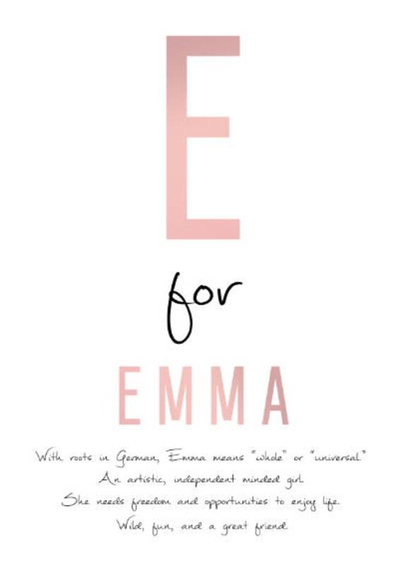 Emma Custom Name DIGITAL Meaning Gift Art PRINTABLE Instant Download Personalised Idea Kis Newborn