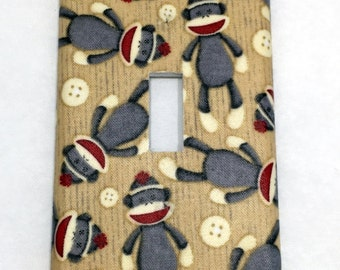 Sock Monkeys Light Switch Plate Cover / Outlet Cover / Home Decor / Baby Shower Gift / Nursery Decor / Kid's Room / Monkey / Buttons / Toys