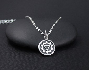 Solar Plexus Chakra Necklace, Sterling Silver Solar Plexus Necklace, Third Chakra Necklace, Chakra Jewelry, Yoga Jewelry, Yoga Gift