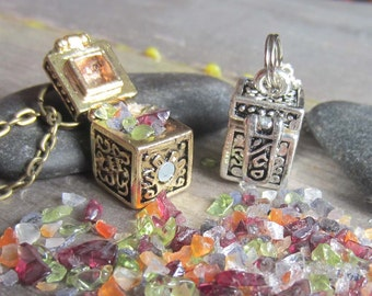 mystical crystals locket wish necklace witchcraft occult witchy jewelry secret compartment wiccan pagan