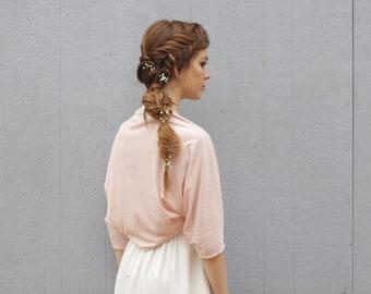 Blush shawl, pink bridal shrug, blush clothing, wedding bolero, wedding sleeves, rose shawl,  shawls and wraps, blush pink bolero