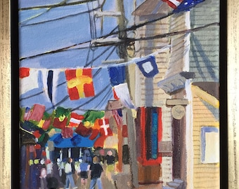 Stars and Stripes, Provincetown, framed acrylic on canvas, 8x10