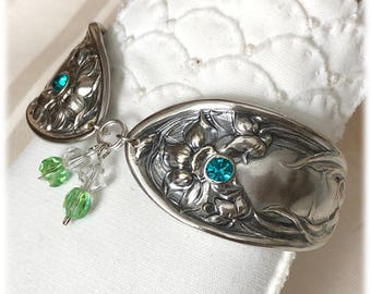 Spoon Bracelet, Silverplate Flatware Bracelet, Art Nouveau, 1908 Oneida Narcissus Daffodil, Aquamarine Crystals, March Flower
