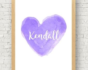 Purple Nursery Art, 11x14, Watercolor Heart Art Print, Lavender Nursery Decor, Personalized Print, Baby Girl Nursery Art, Lavender Girls Art