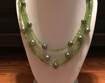 Cultured Tahitian Pearl and Peridot Bead Triple Strand Necklace, 14k Yellow Gold (MM15)
