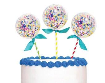Confetti Balloon Cake Topper, cute mini confetti balloons on sticks for cake tops, perfect balloon cake topper