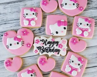 1 dozen Hello Kitty decorated Sugar Cookies