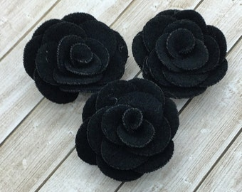 "Small Black Fabric Flowers, Tiny felt Roses, 1.5""  Roses, Soft baby vintage rose flowers, baby headband flowers, wholesale, supplies, DIY"