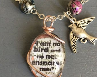 Jane Eyre quote necklace 'I am no bird'