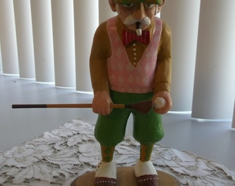 Hand Carved Golfing figurine Golfing Duffer