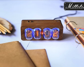 IN-12 Nixie tube Clock assembled with walnut wood ENCLOSURE and adapter 4-tubes by MILLCLOCK