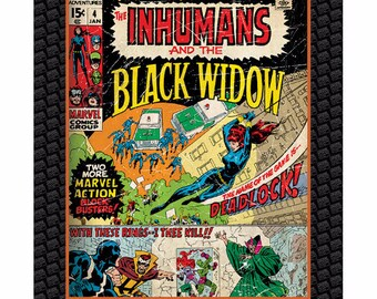 Marvel Fabric- Black Widow Fabric Panel-Marvel Comics Fabric From Camelot