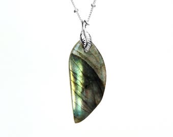 Labradorite Necklace in Sterling Silver - Sterling Labradorite Jewelry