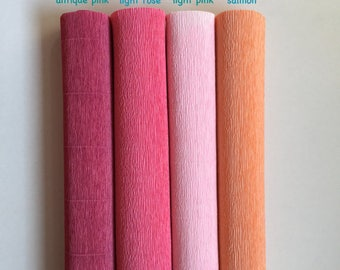 160g German floristic crepe paper (Floristenkrepp) - antique pink, light rose, light pink, salmon. Quality made in Germany.