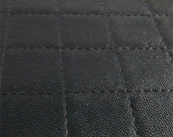 Ebony Black Quilted Grid Faux Leather, Fabric By The Yard