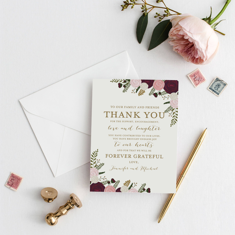 thank you note template diy wedding thank you wedding thank