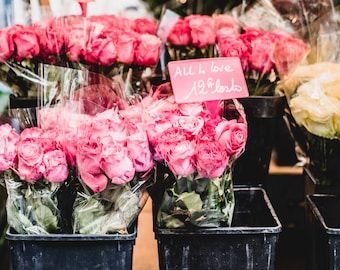 "Paris, France Travel Photography, ""Roses at the Market"", Gallery Wall Art Prints, Home Decor"