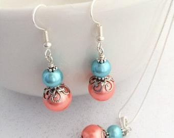 Aqua and Coral Bridesmaid Set, Turquoise and Coral Jewelry, Peach and Aqua Bridesmaid Set, Teal Wedding, Aqua Wedding, Bridesmaid Proposal