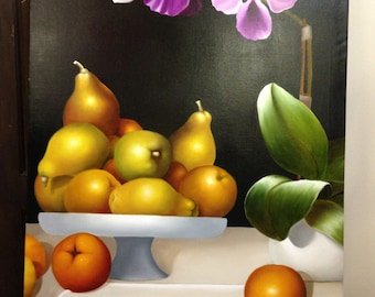 """Original painting by Csrlos Cadavid """"Fruits on the table"""""""