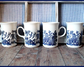 Blue Willow Mugs, Churchill China of England, Set of 4, Ceramic Coffee Mug, Cobalt Blue and White, Japanese Love Birds Pattern, Vintage 1980