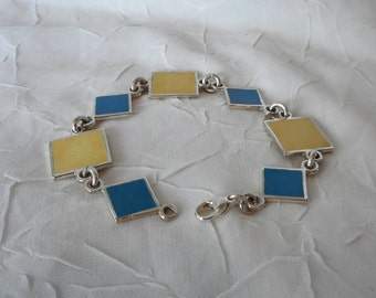 Blue and Yellow Enamel Bracelet Link Bracelet Made in Montana Fine Jewelry Gift  Modern Enamel Jewelry Anniversary Gift for Wife