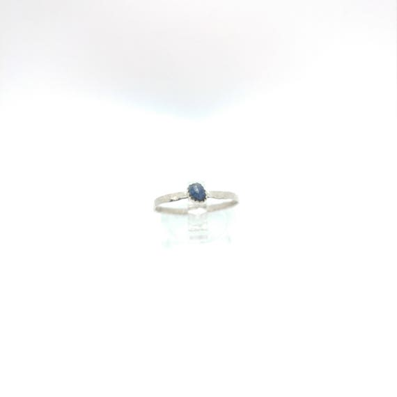 Blue Sapphire Stacking Ring | Sterling Silver Ring Sz 8.75 | Raw Sapphire Ring | September Birthstone Ring | Raw Blue Sapphire Stacker Ring