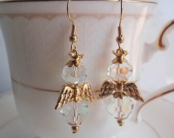 Angel Earrings, Handmade, Crystal and Goldtone angel
