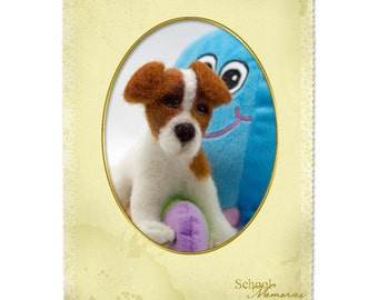 Felted Jack Russell Terrier Needle Free Shipping Felted Dog Wool Sculpture Christmas Gift Memorial Sculpture Fiber Animal