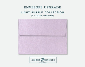 ENVELOPE UPGRADE Light Purple Lavender Envelopes Add-On for Amber Mangle Designs Print Order Invitations A7 Note Cards A2 Stationery A6