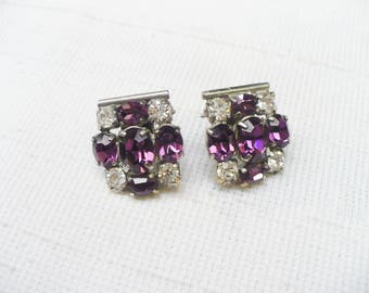 GORGEOUS Vintage Art Deco Clear/Purple Rhinestone Earrings - Vintage repurposed - silver tone-post back ear wire - PLUM wedding -bridesmaid
