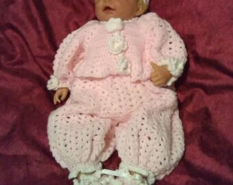 Baby girl Blanket/romper/jacket/booties/headband newborn-3months