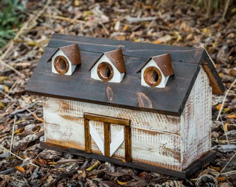 Rustic Barn Triplex Birdhouse with predator guards and rusted steel roof peaks