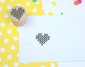 Cross Stitch Heart Mini Stamp - Handmade Rubber Stamp - Sewing - crafter stamp
