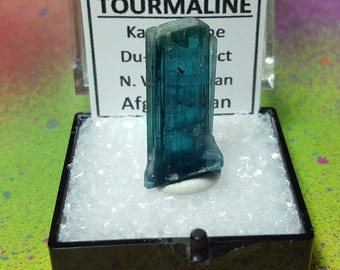 Sale INDICOLITE TOURMALINE Top Quality 3.2 Gram Terminated Blue Collector Gemstone Crystal In Perky Specimen Box From Nuristan Afghanistan