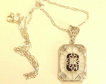 Sale, Vintage Camphor Glass, Diamond Necklace, Sterling Silver, Onyx, Edwardian Fantasy, Art Deco Necklace,Victorian Style,Antique Necklace