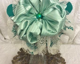 Green Stripe Fabric Flower Bouquet