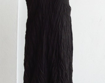 D9, Coco Two Tone Two Layers Sleeveless Dark Brown Cotton Dress, Maxi