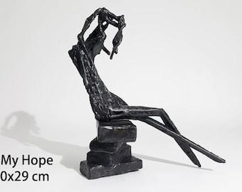 Iron Metal Sculpture (creature) - Figurative Abstract 34cm