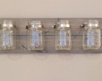 Mason Jar Wall Decor, Mason Jar Organizer, Rustic Mason Jar Decor, Makeup Organizer, Desk Organizer, Bathroom Organizer, Office Organizer