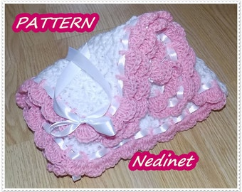 Crochet PATTERN, Crochet Blanket Pattern, Crochet Pattern Blanket, Crochet Baby Blanket PATTERN, Ribbon baby blanket, Instant Download