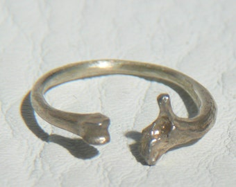 Open band Adjustable Ring in Sterling Silver of Nature casts from Rat and Snake Bones