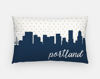 Portland Oregon pillow | Portland skyline pillow | city skyline pillow | Oregon home decor | Portland home decor | gold polka dot pillow