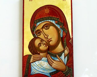 Madonna with Christ child - orthodox style handpainted icon of Virgin Mary and Baby Jesus - 13.5 x 7.5 inches