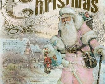 Pink Santa Vintage Traveler Shabby Christmas  Large digital download ECS buy 3 get one free
