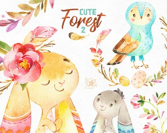 Cute Forest 2. Watercolor little animals clipart, bunny, rabbits, owls, feathers, wreath, floral, greeting, babyshower, woodland, hare, cft