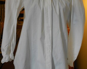 """1890's, bust 34"""", white cotton broadcloth bed jacket."""