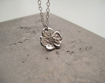 Silver flower necklace, Mother's day gift, silver pendant necklace, pretty necklace, fine silver necklace, silver art clay, So You Jewellery