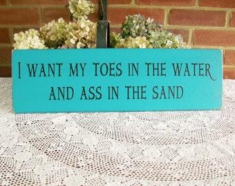 Toes In The Water Wood Beach Sign, Beach Decor, Wall Decor Summer Coastal