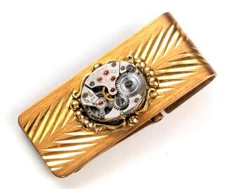 Steampunk Vintage Watch Movement Brass Money Clip