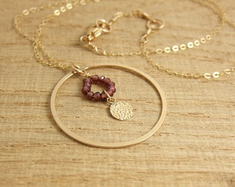 Necklace with Garnets, a 14k Gold-Filled Loop and a Hammered Disc, Wire Wrapped to a Gold Filled Chain GCDN-38